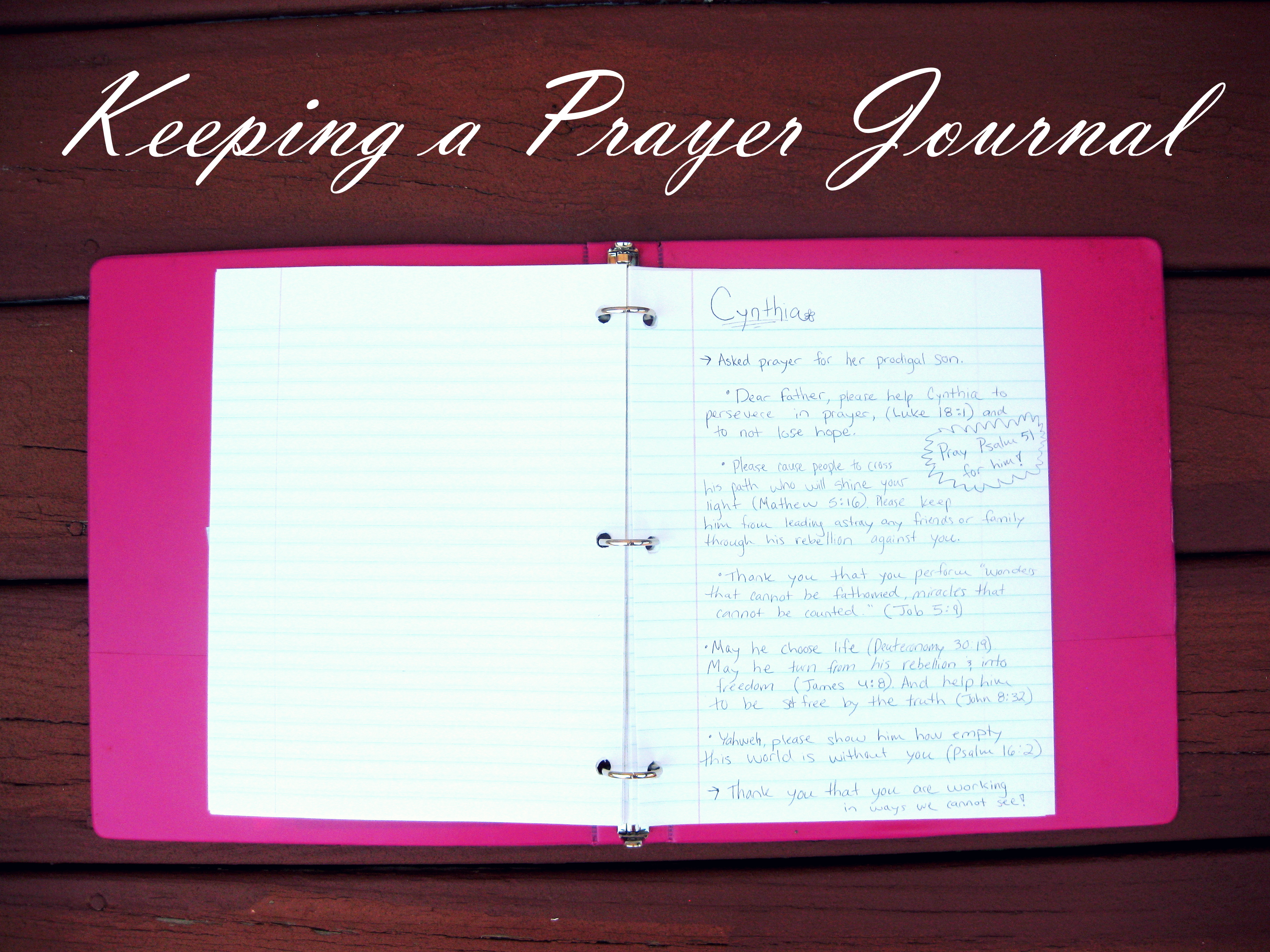 Keeping a Prayer Journal